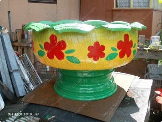 Как раскрасить покрышку под цветы
